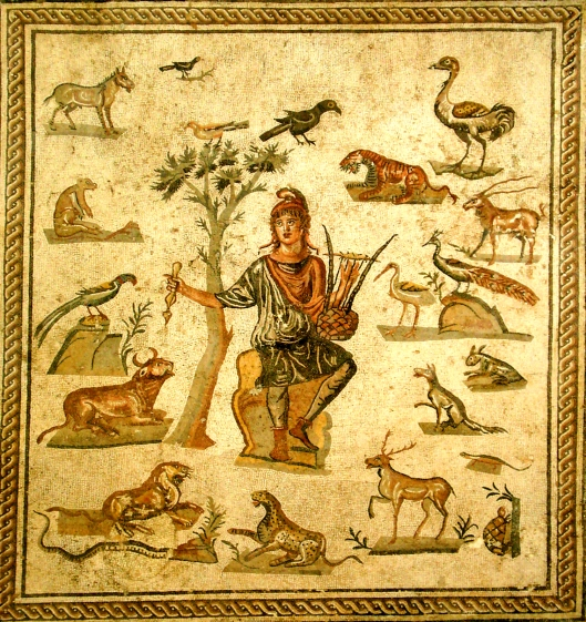 Orfeo representado en un mosaico romano