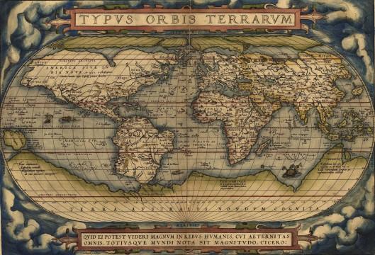 Abraham Ortelius, Theatrum Orbis Terrarum, 1570. La isla S. Brandain aparece en la latitud 50º norte, meridiano 360, frente a las costas de Irlanda.