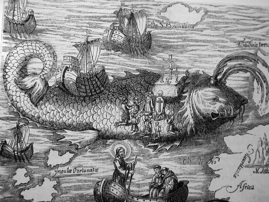 Grabado de la misa de Resurrección sobre la Ballena, en aguas de la islas Canarias.