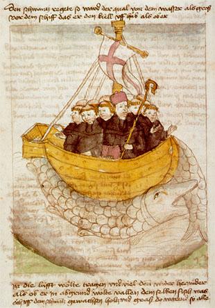 San Brandán y la ballena en un manuscrito del siglo XV