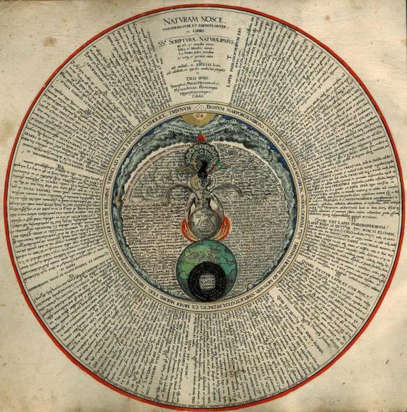 """La Piedra de los filósofos que contiene los tres principios (Mercurio, Sal y Azufre) y el """"modus operandi"""" (disolver y coagular) en la figura del """"Rebis"""" (andrógino o hermafrodita)."""