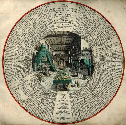 """""""La primera etapa de la Gran Obra"""", más conocido como """"El laboratorio del alquimista"""", muestra a Khunrath en su laboratorio. Dibujo de Hans Vredeman de Vries (1527-1604)."""
