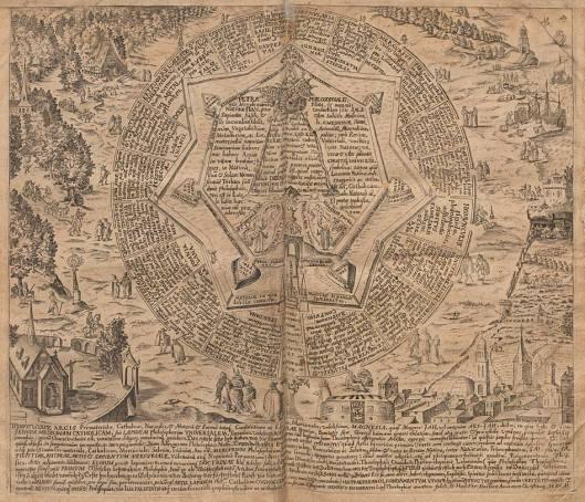 Las 21 puertas que prometen el acceso al corazón de la ciudadela Hermética, 20 de las cuales no conducen sino al error. Placa de doble página, con grabado fechado en 1602 (edición de 1609).