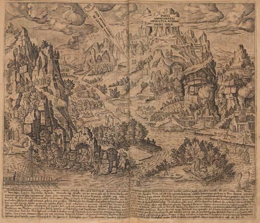 """La vía de los Sabios, que conduce hasta la perta del Anfiteatro de la Sabiduría Eterna (la """"Porta Ampitheatri Sapientiae Aeternae""""). Placa de doble página, con grabado de texto en latín, fechado en 1602 (edición de 1609)."""