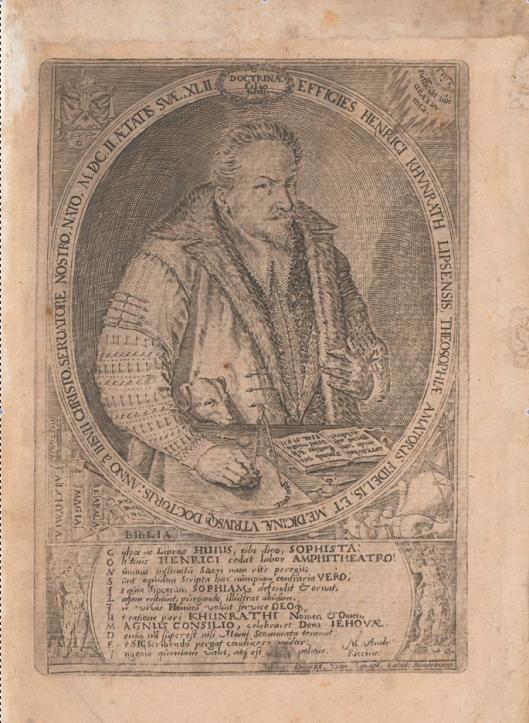 Retrato de Khunrath a la edad de 42 años con la Biblia abierta en el Salmo 71,17. Aparece también un perro y representaciones de libros y aparatos alquímicos (grabado de Jan Diricks van Campen, de Magdeburgo), edición de 1609.