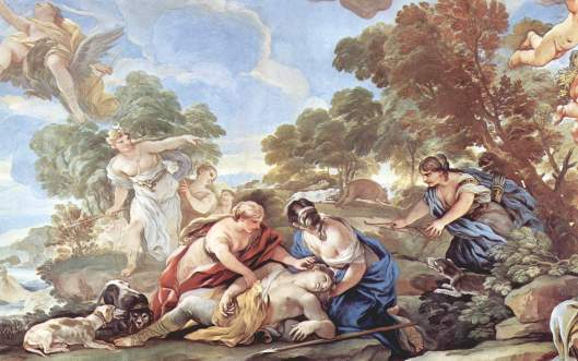 Muerte de Adonis, por Luca Giordano.