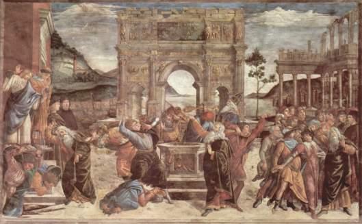 Castigo de los rebeldes (Punizione dei ribelli) Sandro Botticelli, 1481–1482 Fresco • Renacimiento 348,5 cm × 570 cm Capilla Sixtina
