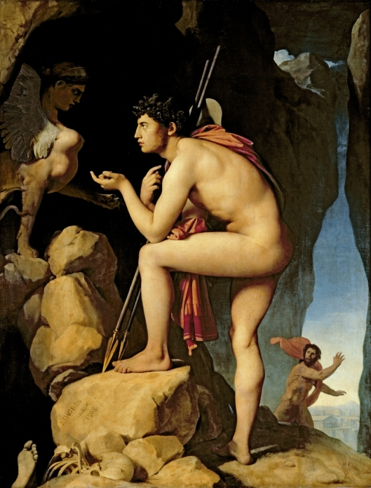 Edipo y la esfinge (Œdipe explique l'énigme du sphinx) Dominique Ingres, 1808 óleo sobre lienzo • Neoclasicismo 189 × 144 Museo del Louvre, París, Flag of France.svg Francia
