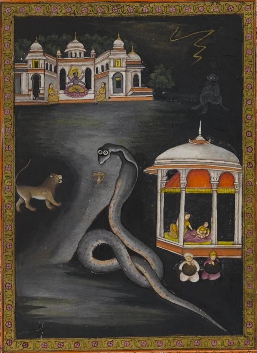 Khrisna llevado a través del rio