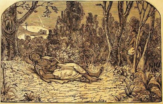 El cazador Yará apunta al pie de Khrisna al confundirlo con un venado amarillo.