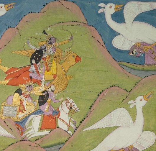Khrisna lucha contra los gigantes