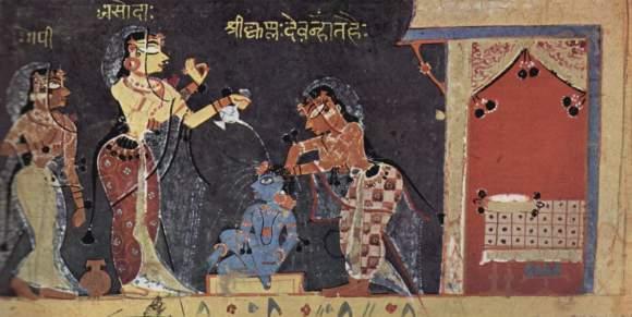 La madre Iashodá bañando al bebé Krisná (ilustración de un manuscrito del Bhágavata-purana, Bombay, India