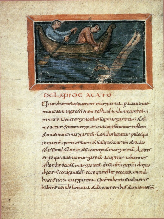 Catching of pearls, Bern Physiologus (9th century)