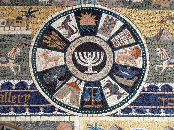 ímbolos de las doce Tribus de Israel. Detalle de mosaico en el Barrio Judío de la Ciudad Vieja de Jerusalén