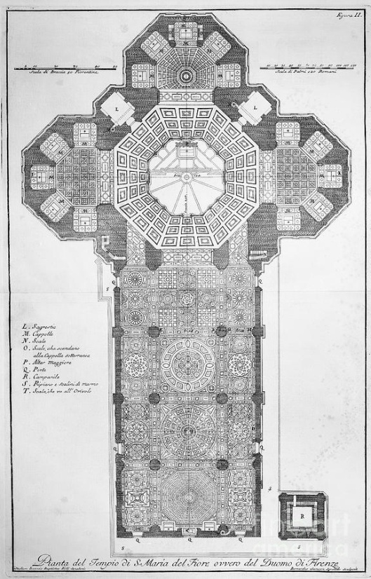 Pianta del tempio di S.María del Fiore ovvero del Duomo di Firenze.