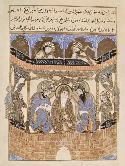 Manuscrito iluminado de 1287 mostrando a los Hermanos de la Pureza